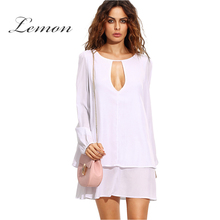 Lemon Chiffon Lace Women Casual Basic Loose Frill Dress Solid White Long Sleeve O-Neck Cut Out Crew Neck Double Layer Mini Dress