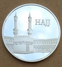 40mm Hajj Kaaba Masjid_al Haram Macca Islamico Souvenir Moneta Dargento Placcato