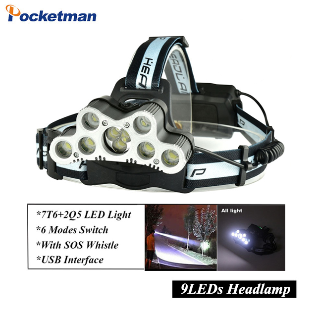 Super 45000LM USB 9 LEDs Led Headlamp Headlight head flashlight torch XM-L T6 head lamp rechargeable for 18650 battery z30 r3 2led super bright mini headlamp headlight flashlight torch lamp 4 models