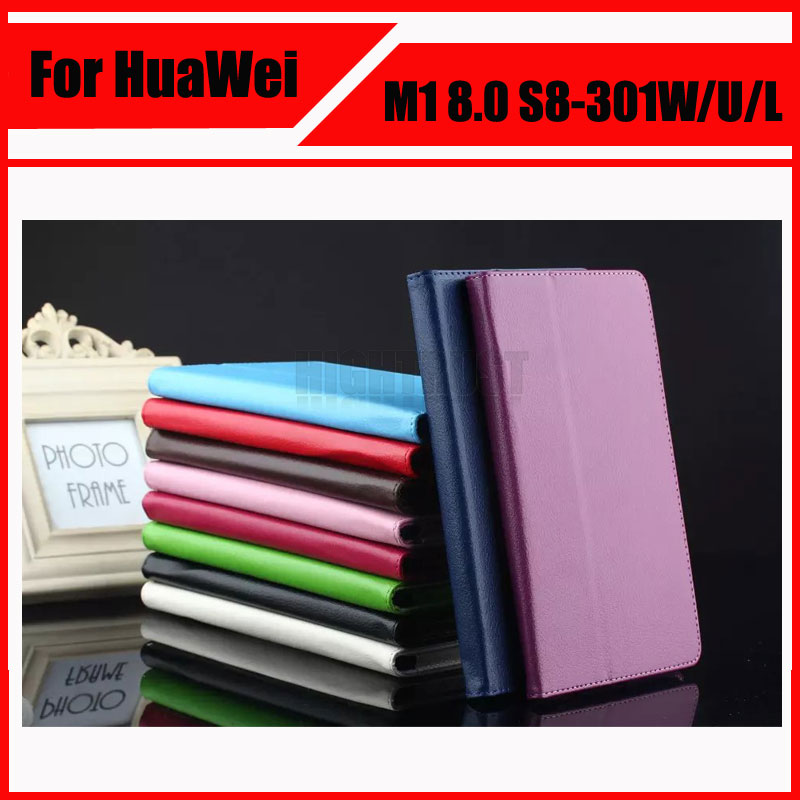 3 in 1 Litchi Pu Leather Folio Stand Case Cover For HUAWEI MediaPad M1 S8-301W/U/L Tablet + Stylus + Screen Film for 2017 huawei mediapad m3 youth lite 8 cpn w09 cpn al00 8 tablet pu leather cover case free stylus free film