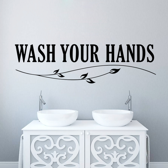 Wash your hands wall sticker quotes Bathroom toilet wall Decor ...