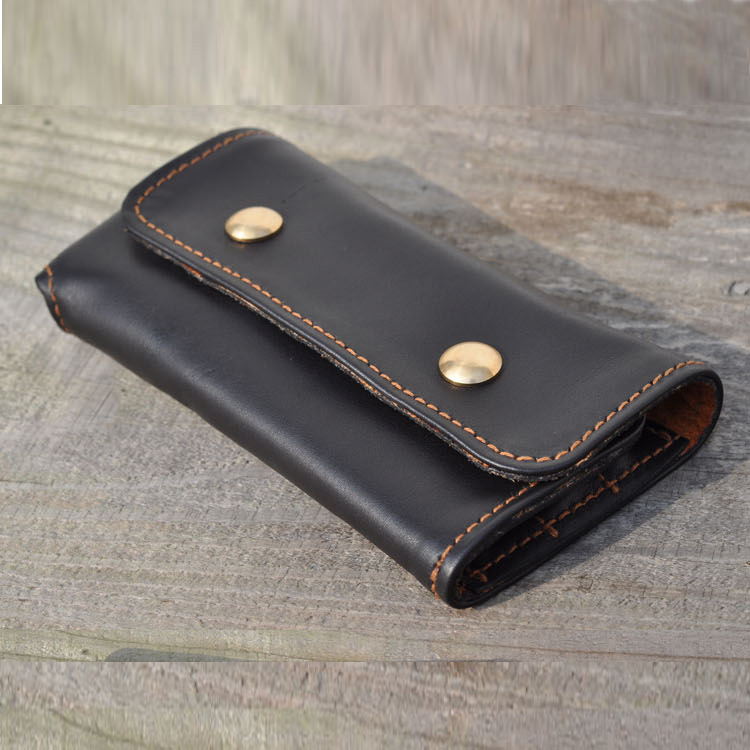 High quality 6 Holes cowhide Genuine Leather Pencil Case Storage Organizer Pen Bags Pouch Pencil Bag case Stationery 1275C