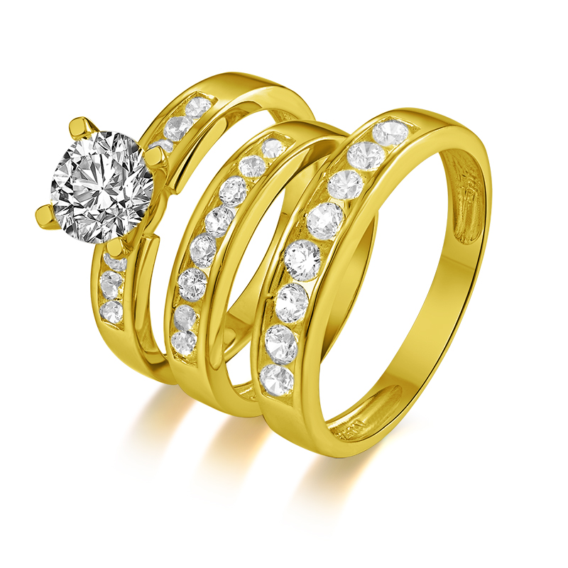 Ainuoshi Real Gold Trio Ring 14k Solid Yellow Gold Couple Wedding