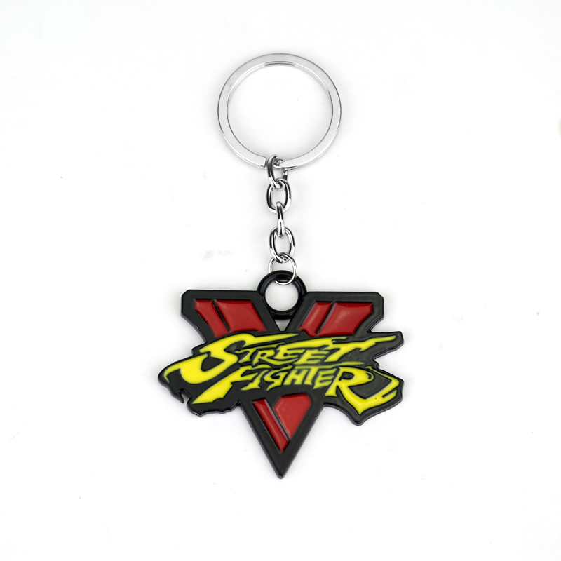 New ps4 Game Street Fighter 5 Logo Multi-Color 5cm Metal Keychain Keyring Zelda Keychain