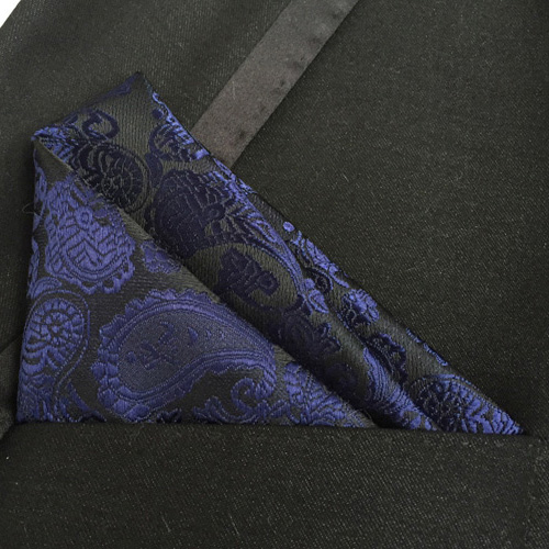 Lingyao Luxury Pocket Square High Quality Woven Handkerchief Black With Blue Paisley Handky For Banquet