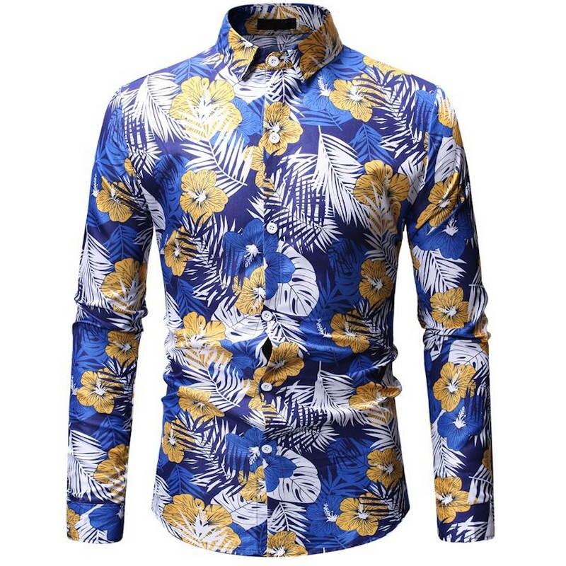 2019 Brand Mens Summer Beach Hawaiian Shirt Long Sleeve Plus Size Floral Shirts Men Casual Holiday Vacation Clothing Camisas