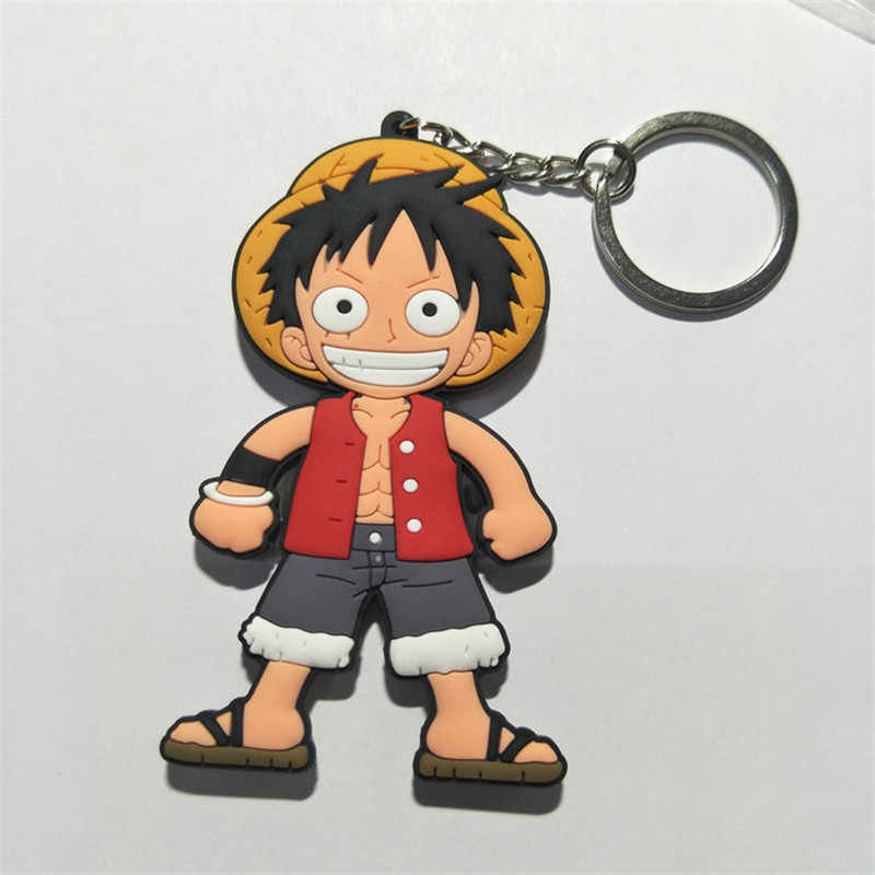 One Piece Keychain DO PVC Figuras Brinquedos Dos Desenhos Animados Anime Luffy Chopper Nami Sanji Zoro Nico Saco Chave Pingentes Chaveiro Bonecas 10 pçs/lote