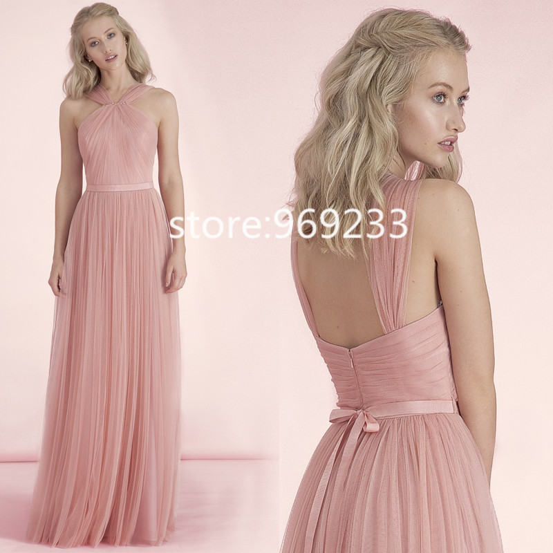 2015 Pastel Pink Tulle Long Bridesmaid Dress With Straps Straight ...