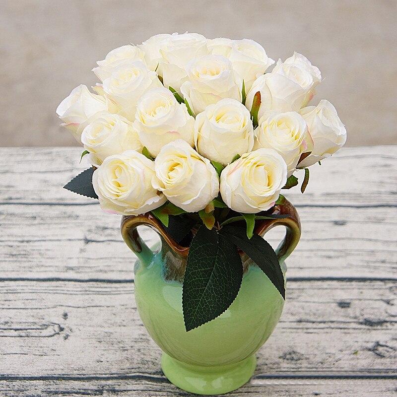 18 têtes artificielle soie Rose fleurs Bouquet pour mariage Natal fête décoration de la maison nuptiale faux flores fleur artificielle roses