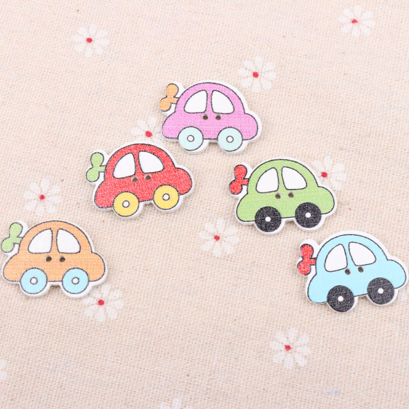 New 20pcs Wood Baby Car Handmade 2 Holes Wooden Buttons Sewing Scrapbooking Diy May27_28 Buttons