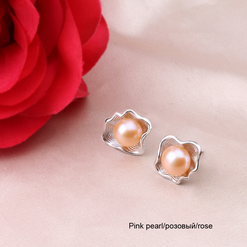 100 925 sterling silver stud earring pearls for women freshwater pearl earring pearl earing for womenfine birthday gift wedding in Earrings from Jewelry Accessories
