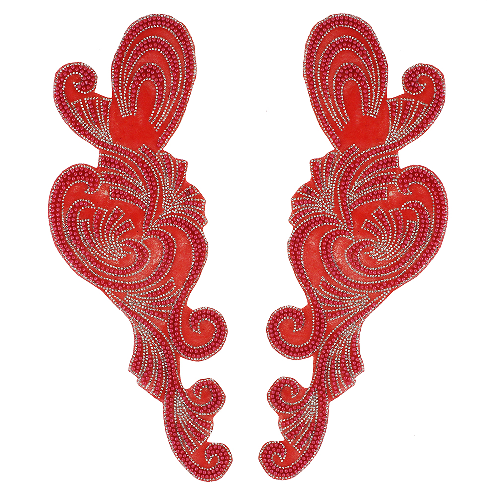 5pair Large Mirror Pair Beads Iron on Patches Hot Fix Rhinestone Transfer Sticker Clothes Decorated Sewing