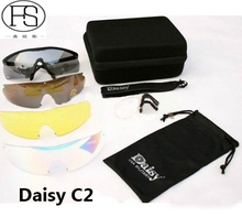 Daisy C2 Polycarbonate Lens Goggles Eye Protection Glasses Cycling Riding Use Protective Eyewear With 4 Pairs