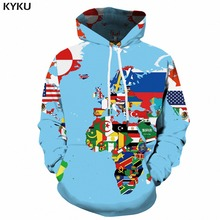 KYKU World Map Hoodie Men Funny Sweatshirt Graffiti 3d Hoodies Anime Colorful Printed Mens Clothing Winter Long Pullover Hooded