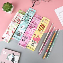 12Pcs/Set Cute Kawaii Cartoon Flamingo Pencil HB Sketch Items Drawing Stationery Student School Office Supplies for Kids Gift 2018 minecraft toys peripheral kit student stationery hb pencil diamond sword gift