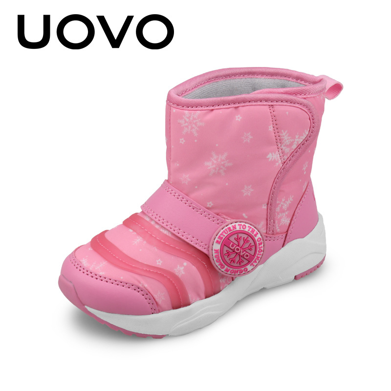 UOVO 2018 Kids Winter Boots Girls Pink Boots Hook Loop Boys Snow Boots Children Fashion Shoes Waterproof Botas Black Size 24-31 uovo kids snow boots girls boys snow boots flower fashion winter shoes children boots