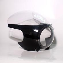 """Мотоциклетный передний головной светильник обтекатель Кафе Racer Drag Racing 5-3/"""" светильник на лобовое стекло для Harley Bobber Sportster Dyna 39 мм вилки"""