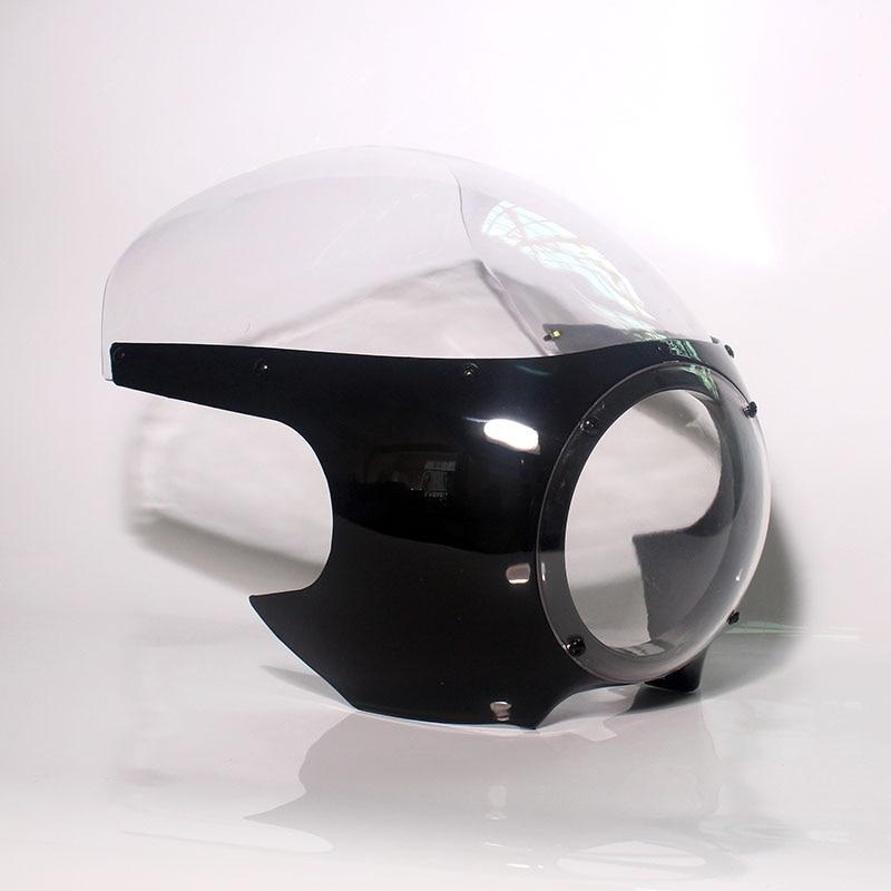 Motorcycle Front Headlight Fairing Cafe Racer Drag Racing 5 3/4 Light Windshield For Harley Bobber Sportster Dyna 39mm Forks