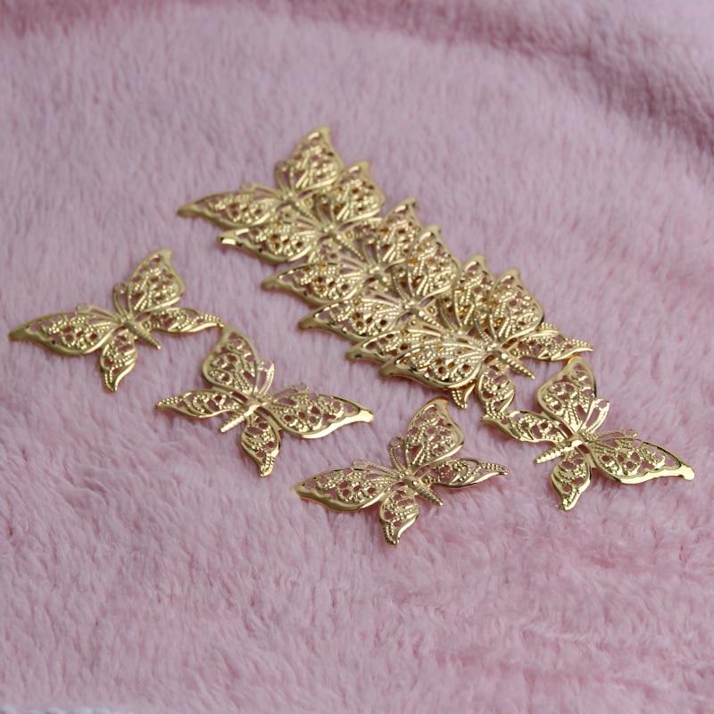 30pcs39*25 мм голод Цвет бабочка Форма филигрань обертывания Инструменты для наращивания волос ремесел DIY ювелирных изделий шарма металла Интимные аксессуары