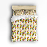4 Piece Bed Sheets Set Lovely Cartoon Branches And Colorful Leaves Print 1 Flat Sheet 1