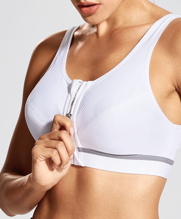 Womens Front Adjustable Wirefree High Impact Full Support Plus Size Sports Bra,Beige02,G,38