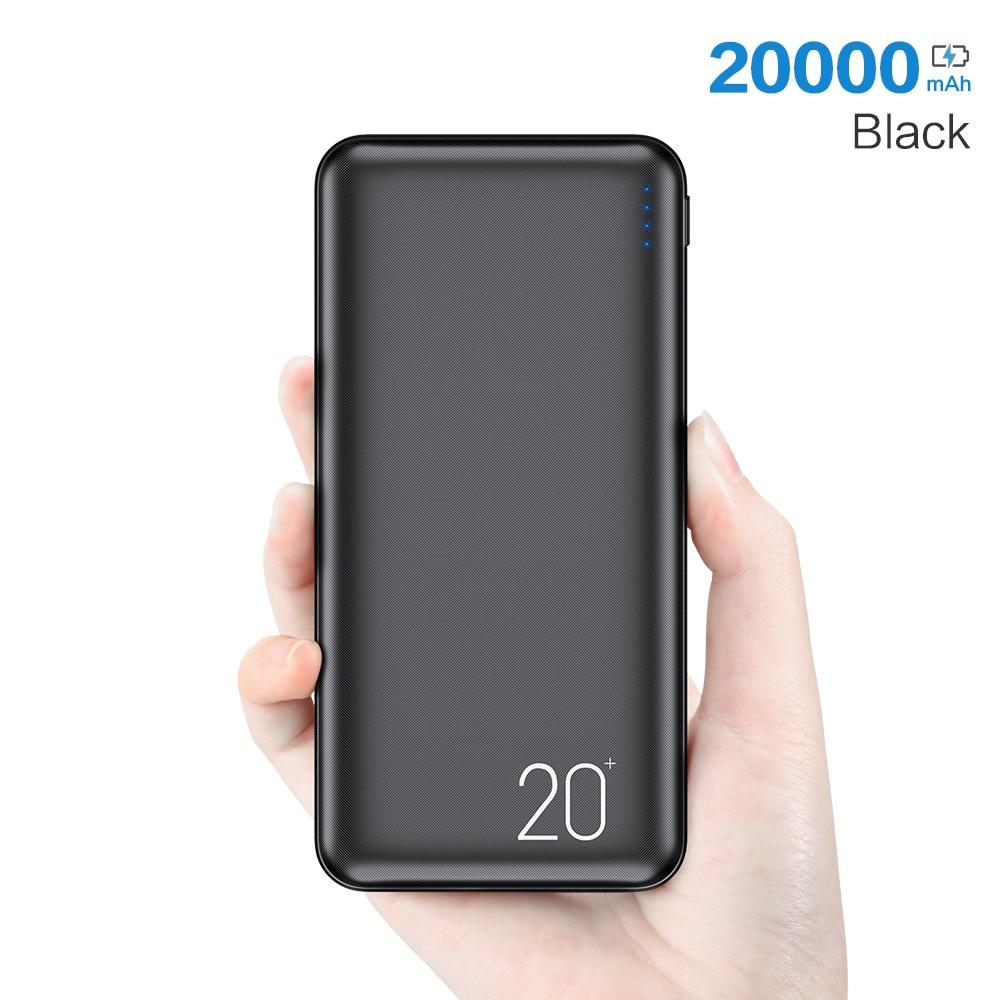 FLOVEME power Bank, 20000 мА/ч, портативная зарядка, повербанк, мобильный телефон, Внешнее зарядное устройство, power bank, 20000 мА/ч, для Xiaomi Mi - Цвет: Black