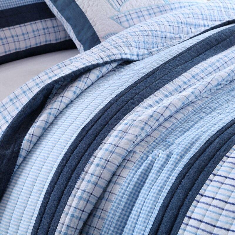 CHAUSUB Patchwork Quilt Set 2 ST Twin Size KIDS Katoen Quilts Oceaan Stijl Gewatteerde Sprei Sprei Shams Coverlet Set beddengoed-in Quilts van Huis & Tuin op  Groep 2