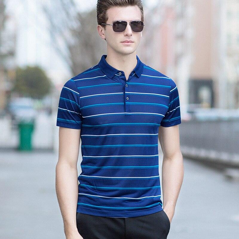 Soie Du Mûrier d'été Polo Shirt Hommes D'affaires Slim Fit Hommes Polo À Manches Courtes Rayé Hommes Chemises Casual Polo Homme Top qualité