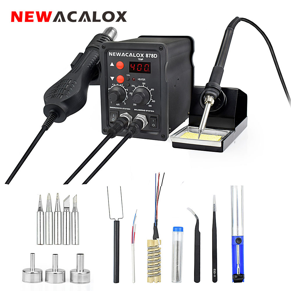 NEWACALOX 878D 220V/110V 700W Desoldering Hot Air Gun BGA Rework Soldering Station Electric Soldering Iron Kit DIY Welding Tools