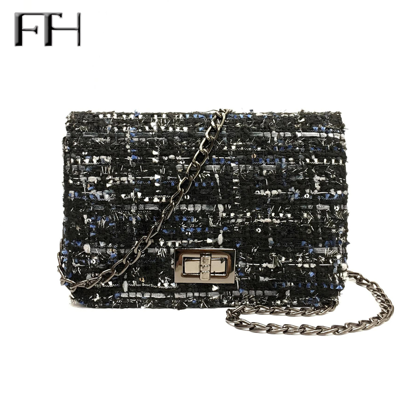 Vintage Womens Woolen Messenger Bag female shoulder Handbags famous Designer Ladies flap clutches Crossbody Chain Bag for girls ...