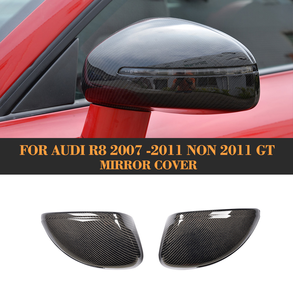 Replacement style Carbon fiber Car Side Rear View Mirror Cover for Audi R8 2007 2008 2009 2010 2011 Chrome ABS Non 2011 GT replacement car styling carbon fiber abs rear side door mirror cover for bmw 5 series f10 gt f07 lci 2014 523i 528i 535i