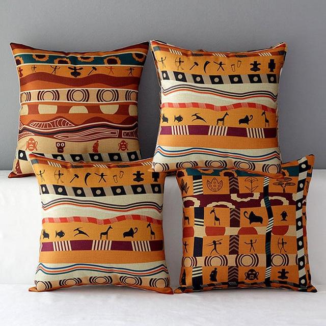c230aa48ed83c3 R$ 42.47 |45*45 CM cotton linen capa de Almofada flor animal Humano estilo  africano capa almofadas decorativas para o sofá carro almofada e joga em ...