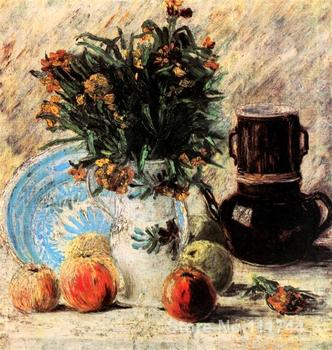 Buy art canvas online Vase with Flowers Coffeepot and Fruit Vincent Van Gogh reproduction paintings Hand painted High quality