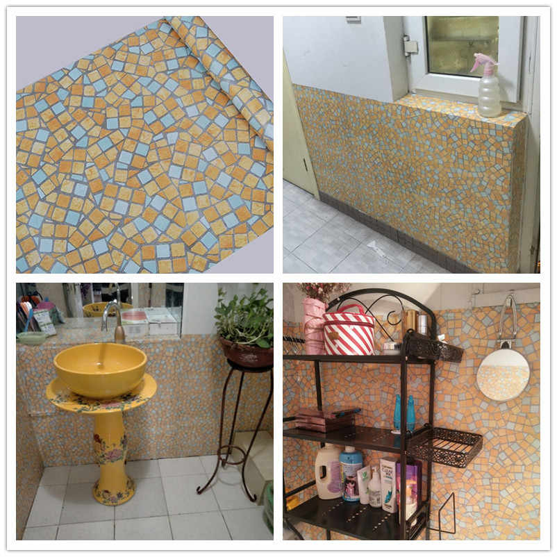 หนา 45cm X 10M ครัวห้องน้ำกาว Mosaic วอลล์เปเปอร์กันน้ำสติกเกอร์กระเบื้อง Renovate Wall สติกเกอร์