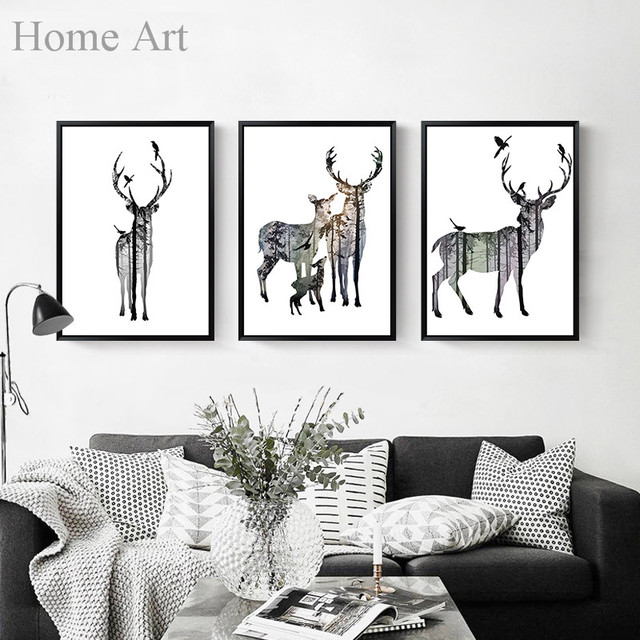 Canvas Elk Deer Printings Wall Poster Art Print Nordic Style Home Decoration High Definition NO FRAME 91602