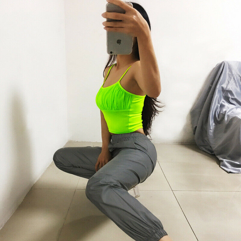 Fluorescent color Women Fashion Hip Hop Spaghetti Strap O Neck Summer Casual Vest   Tops   Sleeveless Crop Draped T-Shirt