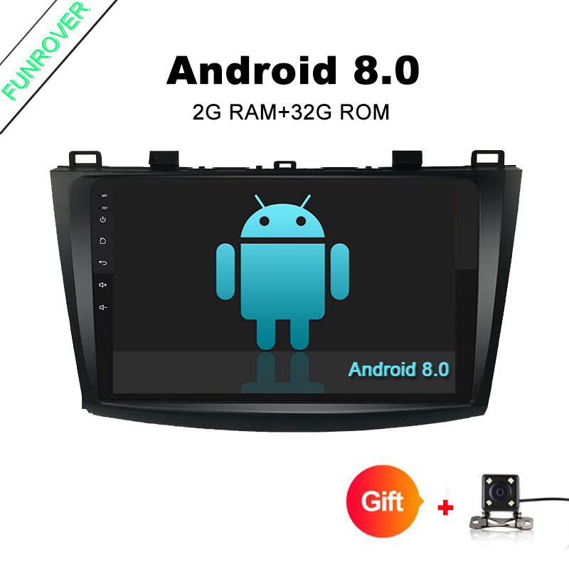 Funrover 9 Inch Android 8.0 2G+32GB car stere for Mazda 3 gps navigation Mazda 3 maxx DAB Radio RDS Mirror link Bluetooth no DVD