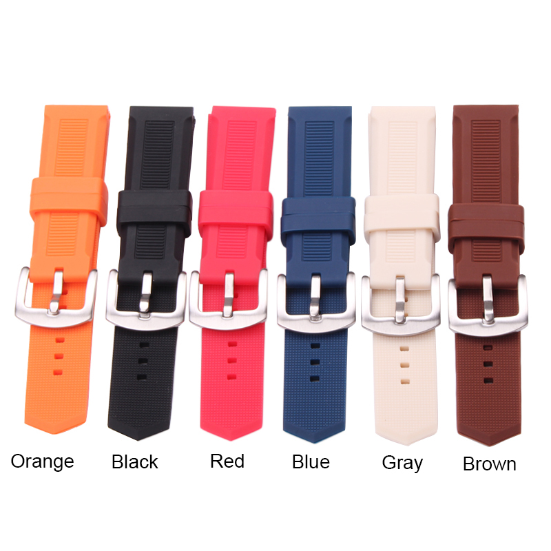 HENGRC 22mm Silicone Rubber Watch Band High Qualiyt Soft Sports Diving Black Blue Gray Orange Red Fashion Strap Metal Buckle black blue gray red 18mm 20mm 22mm waterproof silicone watchband replacement sport ourdoor with pin buckle diving rubber strap