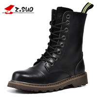 Z Suo Brand 2017 British Style Genuine Leather Women Motorcycle Boots High Top Martin Boots Old