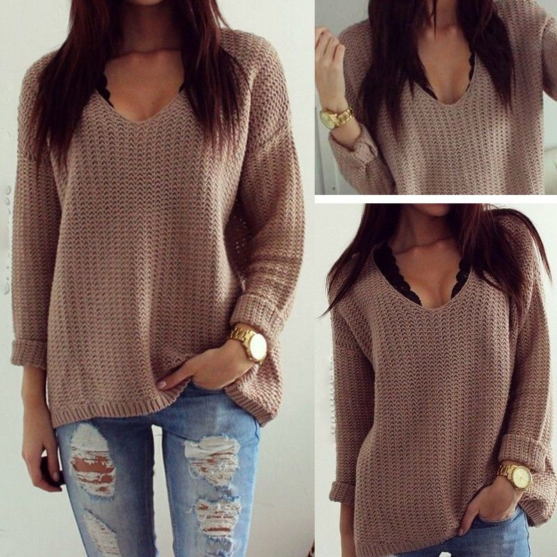 5dccd007f4d61b Winter Knitted Sweater Women 2018 Autumn White Pullover Sweater Sexy Deep v  Neck Long Sleeve Jumpers Pull Femme sweter mujer-in Pullovers from Women s  ...