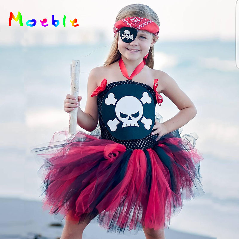 Skull Pattern Girl Pirate Costume Tutu Dress Princess Summer Dress Baby Kids Party Dresses Children Cosplay Outfits Halloween halloween baby girls clothes sequins princess dress with eye patch sleeveless pirate pattern kids dresses girl children clothing