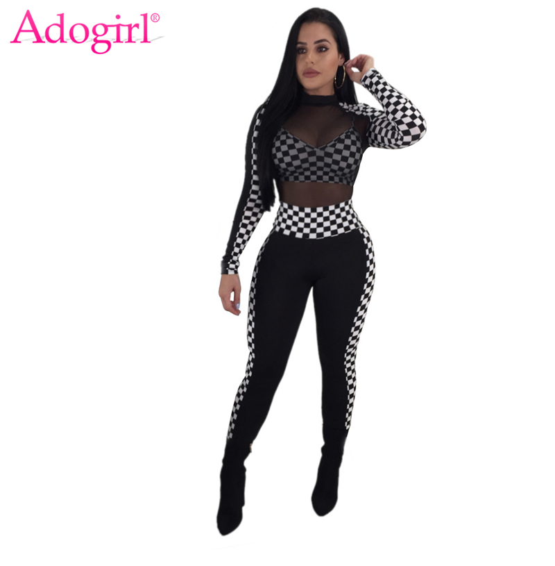 Adogirl Sheer Mesh Patchwork Size Plaid Women Sexy Jumpsuits High Neck Long Sleeve Skinny Rompers Ladies Race Suit Club Overalls