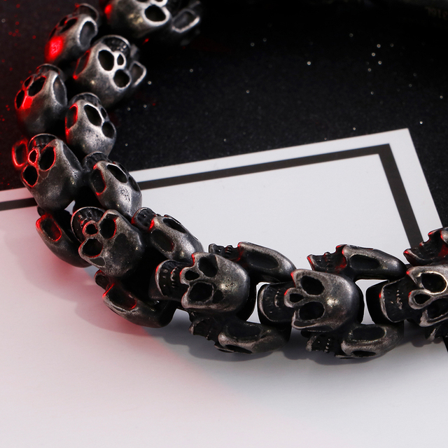 15MM WEIGHTY STAINLESS STEEL VINTAGE STYLE SKULL BRACELET