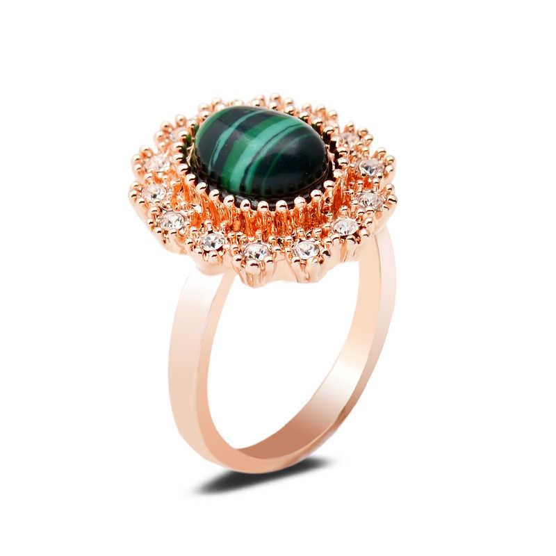 ธรรมชาติสีเขียว Malachite แหวนหินรังผึ้งคริสตัลรูปไข่อินเทอร์เฟซ Golden แหวนเงิน 7/8/9 ขนาดผู้หญิงเครื่องประดับของขวัญ