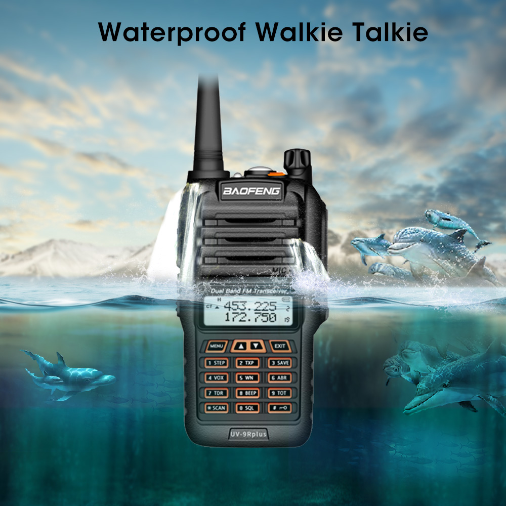 Newest Baofeng UV 9R Plus Walkie Talkie Waterproof 8W UHF VHF Dual Band 136 174/400 520MHz Ham CB Radio FM Transceiver Scanner-in Walkie Talkie from Cellphones & Telecommunications