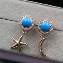 natural blue turquoise stone drop earrings 925 silver Natural gemstone earring women personality moon drop earrings for party