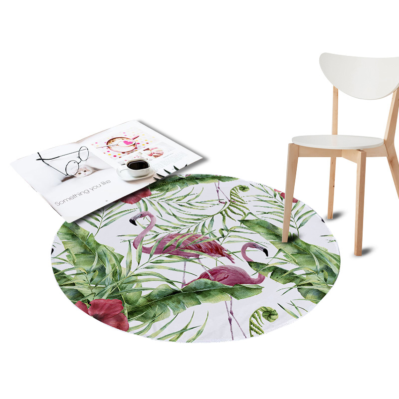 Magnificent Us 8 69 45 Off Coral Velvet Chair Floor Mat Flamingo Print Large Round Carpet For Living Room Kids Room Play Area Tropical Plants Outdoor Rugs In Gmtry Best Dining Table And Chair Ideas Images Gmtryco