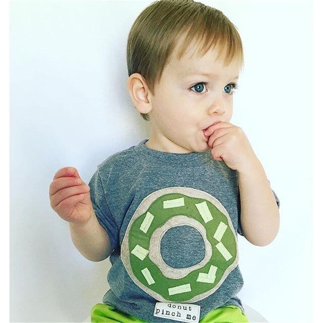 2-5T Children's Clothing 2017 New Summer Boys Short Sleeve Dark Gray Donuts Pure Cotton Short Sleeve Stereo T-Shirt Tops