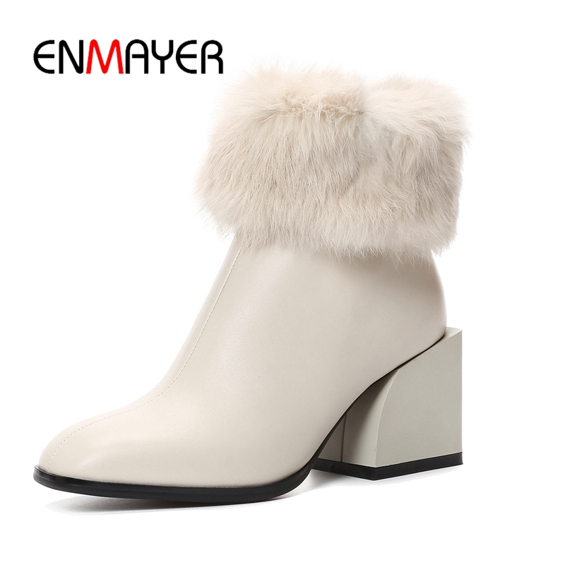 ENMAYER Winter  Ankle boots high quality cow leather zipper ankle boots square toe high heel boots Size 34-39 ZYL1090ENMAYER Winter  Ankle boots high quality cow leather zipper ankle boots square toe high heel boots Size 34-39 ZYL1090