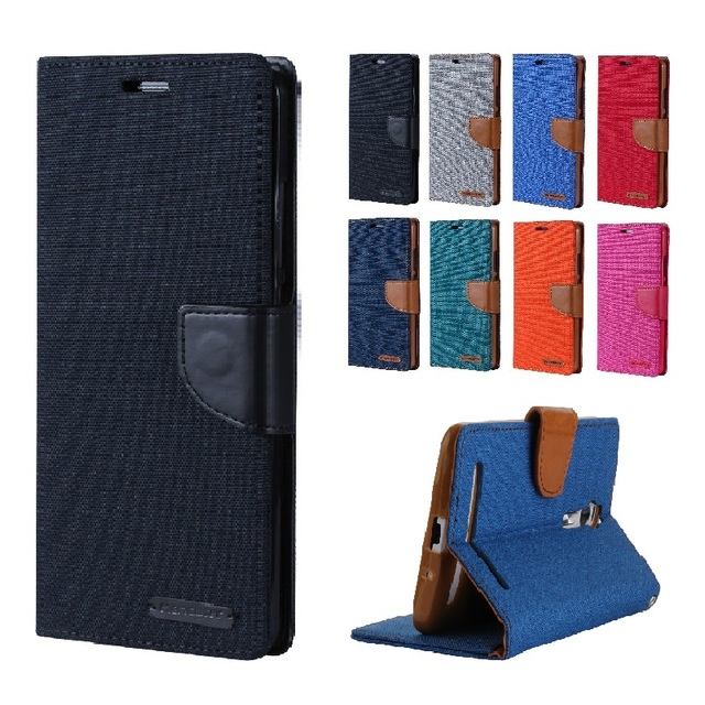 for ZE550KL Flip Case Canvas Leather Wallet Phone Stand Silicon Back Cover for Asus Z00LD Zenfone 2 Laser ZE550KL ZE551KL 551KL